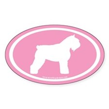 Bouvier Oval (white on pink) Oval Decal