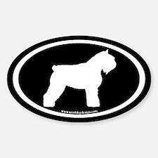 Bouvier Oval Sticker (white on black) (Oval)