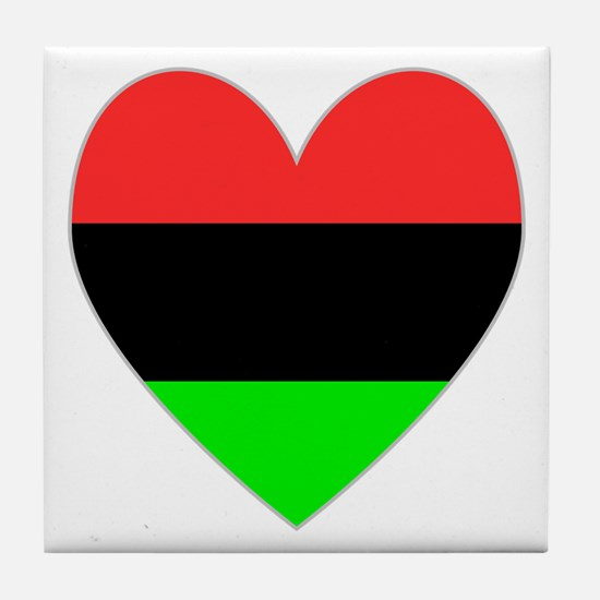 African-American Flag Heart Tile Coaster