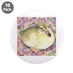 "Snowy Mallard Duckling 3.5"" Button (10 pack)"