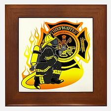 Firefighter With Maltese Cross Framed Tile