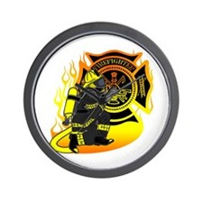 Firefighter With Maltese Cross Wall Clock