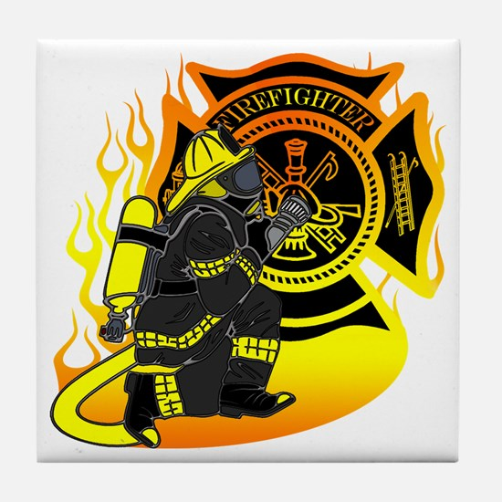Firefighter With Maltese Cross Tile Coaster
