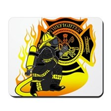 Firefighter With Maltese Cross Mousepad