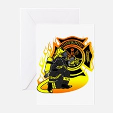 Firefighter With Maltese Cross Greeting Cards (Pk