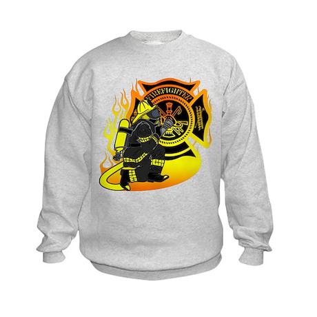 Firefighter With Maltese Cross Kids Sweatshirt
