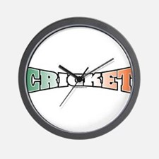 Cricket with Flag Wall Clock