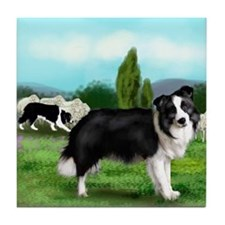 BORDER COLLIE SHEEP Tile Coaster #2