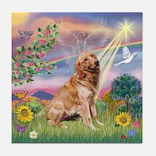 Cloud Angel / Golden Tile Coaster