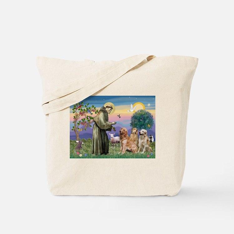 St Francis / Golden Retriever (3) Tote Bag