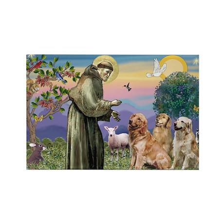 St Francis / Golden Retriever (3) Rectangle Magnet
