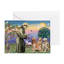 St Francis / Golden Retriever (3) Greeting Card