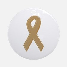 Gold Awareness Ribbon Ornament (Round)