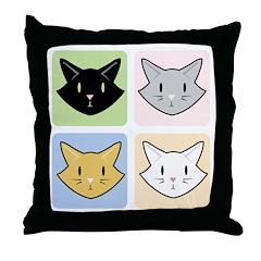 4 Kitties Throw Pillow (White Background)
