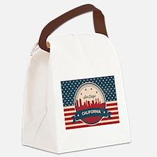 Retro San Diego Skyline Canvas Lunch Bag