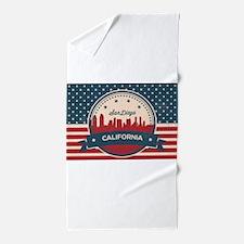 Retro San Diego Skyline Beach Towel