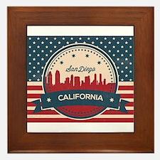Retro San Diego Skyline Framed Tile