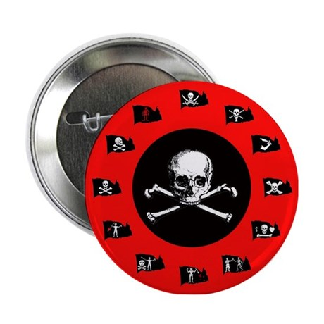 Pirate Flags, Red Jolly Roger Button