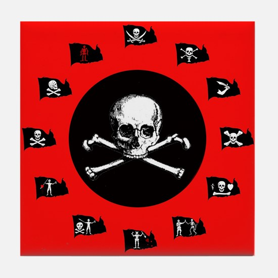 Pirate Flags, Red Jolly Roger Tile Coaster