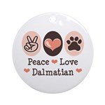 Peace Love Dalmatian Ornament (Round)