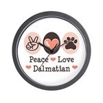 Peace Love Dalmatian Wall Clock