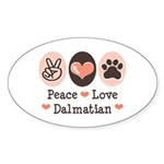 Peace Love Dalmatian Oval Sticker