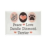 Peace Love Dandie Terrier Rectangle Magnet (10 pac