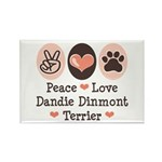 Peace Love Dandie Terrier Rectangle Magnet (100 pa
