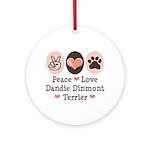 Peace Love Dandie Terrier Ornament (Round)