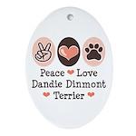 Peace Love Dandie Terrier Oval Ornament