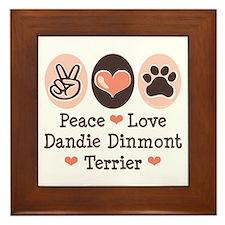 Peace Love Dandie Terrier Framed Tile