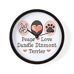 Peace Love Dandie Terrier Wall Clock