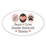 Peace Love Dandie Terrier Oval Sticker