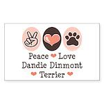 Peace Love Dandie Terrier Rectangle Sticker