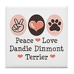 Peace Love Dandie Terrier Tile Coaster