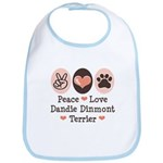 Peace Love Dandie Terrier Bib