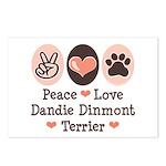 Peace Love Dandie Terrier Postcards (Package of 8)