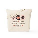Peace Love Dandie Terrier Tote Bag