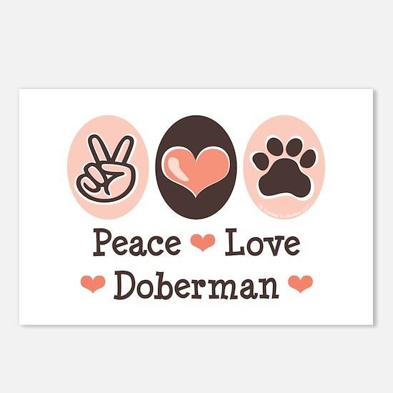 Peace Love Doberman Pinscher Postcards 8 Pack