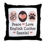 Peace Love English Cocker Spaniel Throw Pillow