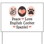 Peace Love English Cocker Spaniel Yard Sign