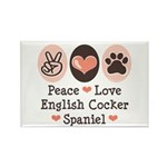 Peace Love English Cocker Spaniel Rectangle Magnet