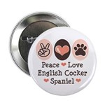 "Peace Love English Cocker Spaniel 2.25"" Butto"