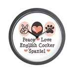 Peace Love English Cocker Spaniel Wall Clock