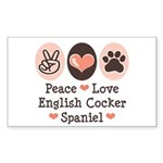 Peace Love English Cocker Spaniel Sticker (Rectang
