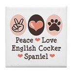 Peace Love English Cocker Spaniel Tile Coaster