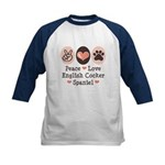 Peace Love English Cocker Spaniel Kids Baseball Je