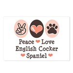 Peace Love English Cocker Spaniel Postcards (Packa