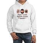 Peace Love English Cocker Spaniel Hooded Sweatshir