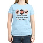 Peace Love English Cocker Spaniel Yellow T shirt